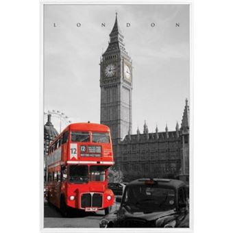 poster encadr londres taxi westminster bus rouge 91x61 cm cadre plastique blanc. Black Bedroom Furniture Sets. Home Design Ideas