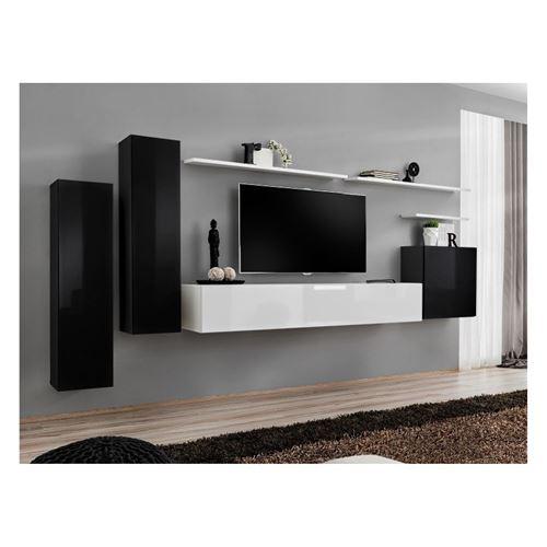 Ensemble meuble salon SWITCH I design, coloris noir et blanc brillant.