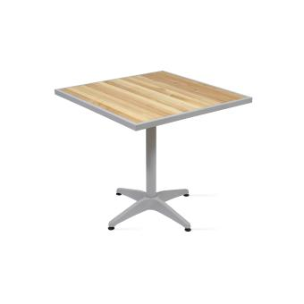 Table de jardin carrée bois et aluminium - Mobilier de Jardin ...