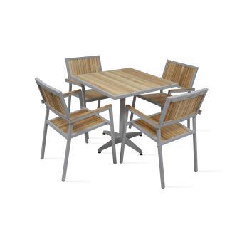 Table de jardin carrée 4 places en bois et aluminium - Mobilier de ...