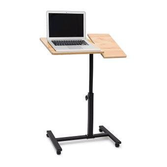 table pour ordinateur portable hauteur r glable roulettes support pliable couleur bois achat. Black Bedroom Furniture Sets. Home Design Ideas