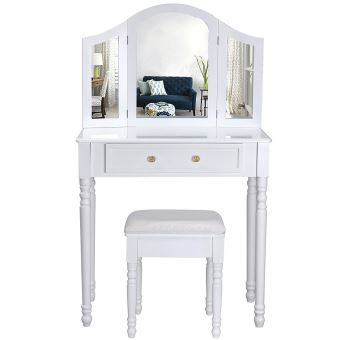 coiffeuse meuble blanc table de maquillage commode avec 3 miroirs rabattables et tabouret 136 x. Black Bedroom Furniture Sets. Home Design Ideas