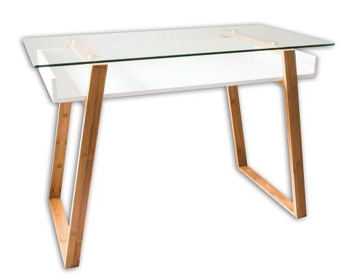 Table bureau secrétaire moderne verre bois naturel avec étagère