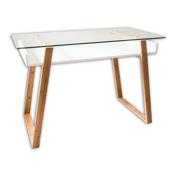 Table Bureau Secretaire Moderne Verre Bois Naturel Avec Etagere Blanc Laque Design Contemporain