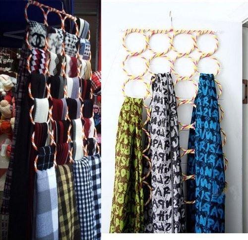 16cf99dd9 Cintre Porte-cravates Porte-écharpes avec 28 Trous pour Serviette Foulard  Couleur Aléatoire