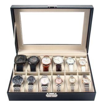 pr sentoir bo te coffret montre noir coffret de rangement pour montres avec serrure 12. Black Bedroom Furniture Sets. Home Design Ideas