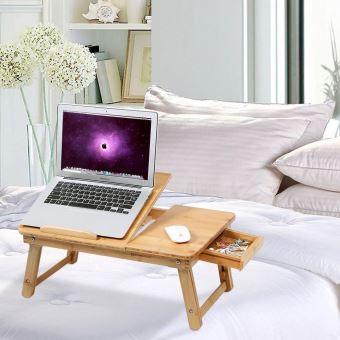 Table De Lit Pliable En Bambou Pour PC Ordinateur Portable Tablette  Inclinable 55 X 35 X 29 Cm