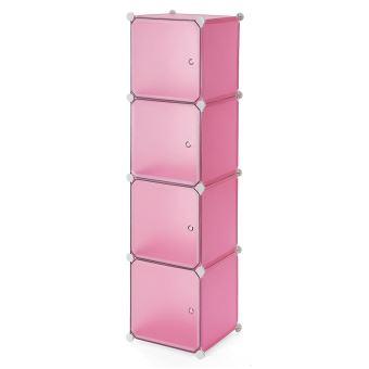 Armoire Penderie Cubes Etagère Modulables Plastiques Cadre En Métal Rose Blanc