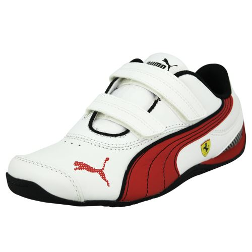 Puma drift cat iii l sf ferrari v kids <strong>chaussures</strong> mode sneakers enfant cuir blanc rouge