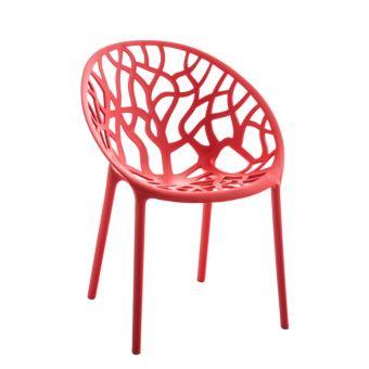 Chaise d\'intérieur ou d\'extérieur en plastique rouge ...