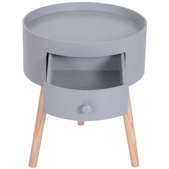 Chevet Table De Nuit Ronde Design Scandinave Tiroir Bicolore Pieds