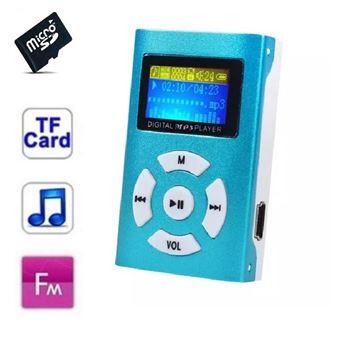 Lecteur MP3 16 Go - à carte mémoire - clip ceinture - Ecran LCD - Radio FM - Bleu