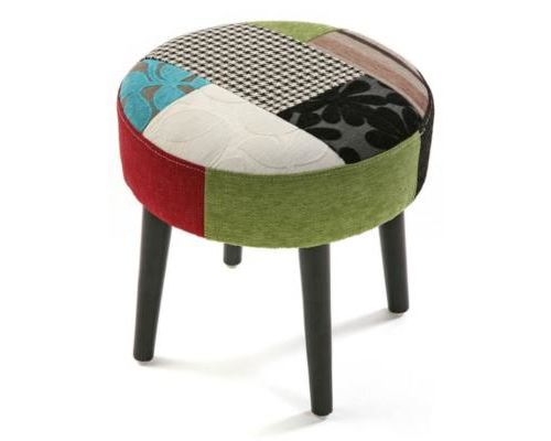 tabouret rond patchwork - Taille 35 x 35 x 35 cm