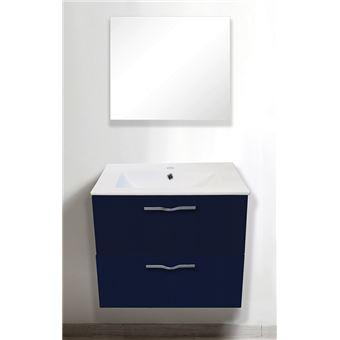 Meuble à suspendre 60 cm Therme, bleu + vasque + miroir