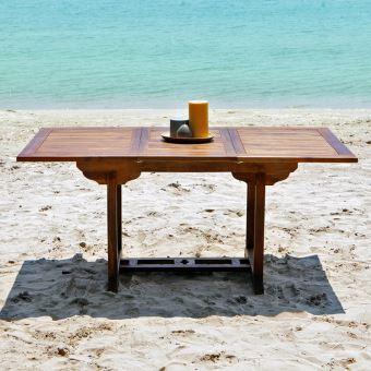 Table de jardin en bois de teck avec rallonge 6 à 8 places ...
