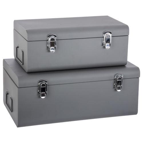Set de 2 coffres malles de rangement en métal - esprit cantine - gris