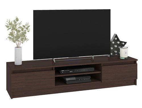 ROBIN   Meuble bas TV contemporain salon/séjour 160x33x40cm   2 niches + 2 portes   Rangement matériel audio/video/gaming   Wenge