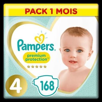 Pack 1 Mois PAMPERS Premium Protection Taille 3-5 à 9 kg 204 Couches