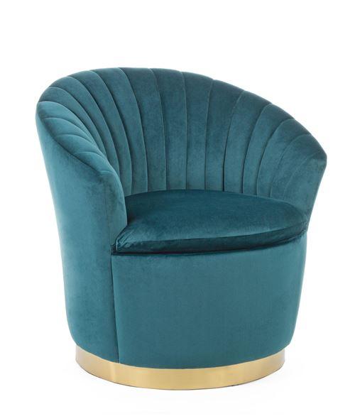 Fauteuil coloris bleu en velours / bois - L 77 x P 71 x H 77 cm -PEGANE-