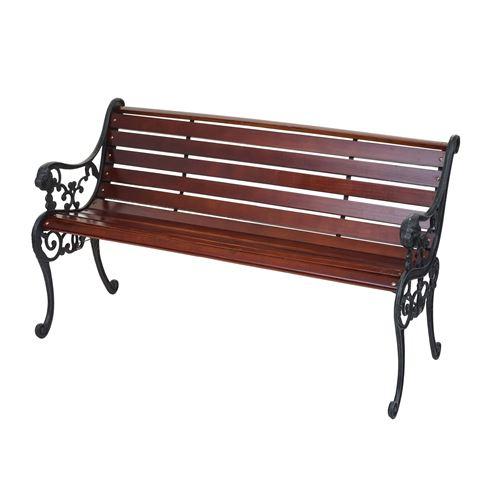 Banc de jardin HWC-F98, banc du parc, banquette en bois ~ 2 places, 125cm marron