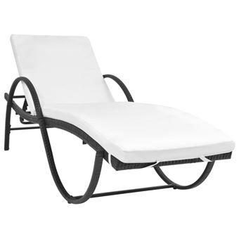 vidaxl chaise longue rsine tresse noir transat chilienne fauteuil sige mobilier de jardin achat prix fnac - Fauteuil Chaise Longue