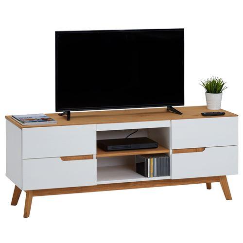 Meuble tv tibor banc télé de 149 cm au style scandinave design vintage nordique avec 4 tiroirs 2 niches, en pin massif lasuré blanc
