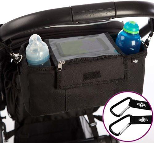 Organisateur BTR pour landau ou poussette, sac de rangement pour poussette, housse à rabat étanche exclusive pour téléphone portable, housse de pluie. Plus 2 clips de poussette gratuits. Un accessoire incontournable pour landau et poussette.