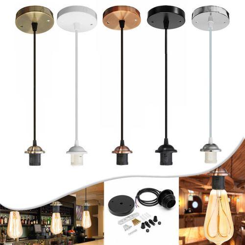 LAVENT E27 Vintage Lampe de plafond metal industriel 1M (sans ampoule) TYPE C ARGENT