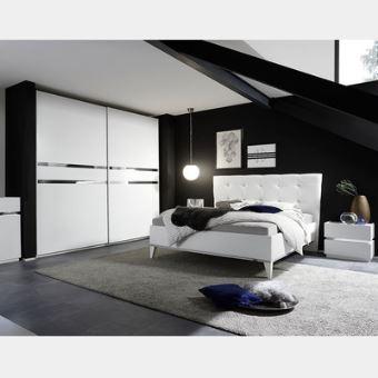 Chambre adulte blanc laqué et chrome ALFA - L 160 x P 200 X H 80 cm ...