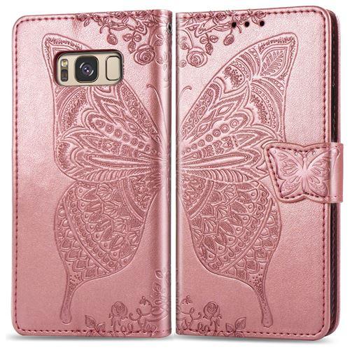 Advansia Coque de protection pour Samsung Galaxy S8 Or Rose type portefeuille Papillon