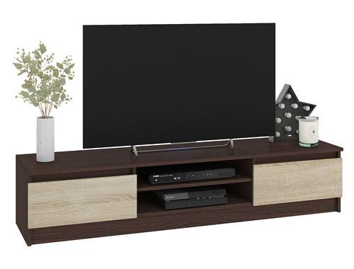 ROBIN   Meuble bas TV contemporain salon/séjour 160x33x40cm   2 niches + 2 portes   Rangement matériel audio/video/gaming   Wenge/Sonoma