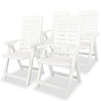 VidaXL Chaise Inclinable De Jardin 4 Pcs 60x61x108 Cm Plastique Blanc