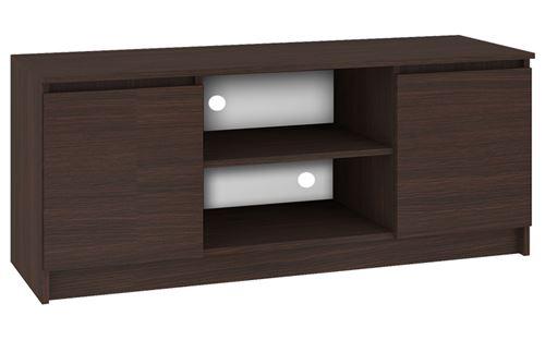 DUSK   Meuble bas TV contemporain salon/séjour 140x55x40 cm   2 niches + 2 portes   Rangement matériel audio/video/gaming   Wenge
