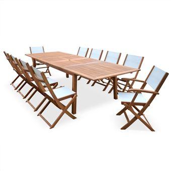 4% sur Salon de jardin en bois extensible - Almeria - Grande table ...