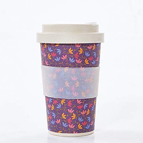 Tasse à café en bambou réutilisable - Doodle violet