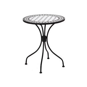 Table ronde en céramique et acier diamètre 60cm noir et ...