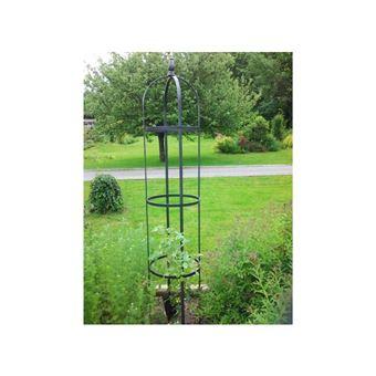 L\'Héritier Du Temps - Grand obélisque rêves de jardins jardinière porte  rosier buis topiaire en fer forgé gris anthracite 40x40x220cm