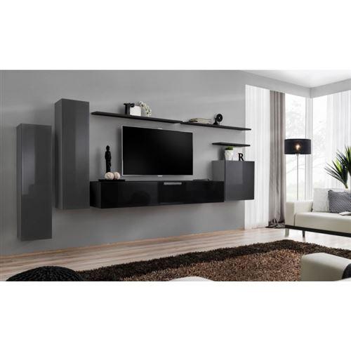 Ensemble meuble salon SWITCH I design, coloris gris et noir brillant.