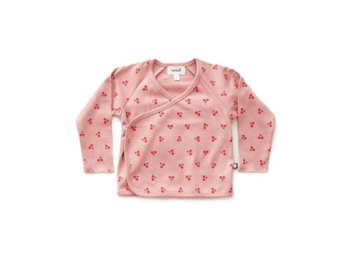 Oeuf Baby Clothes - Haut kimono cerises rose coton bio 0/3M