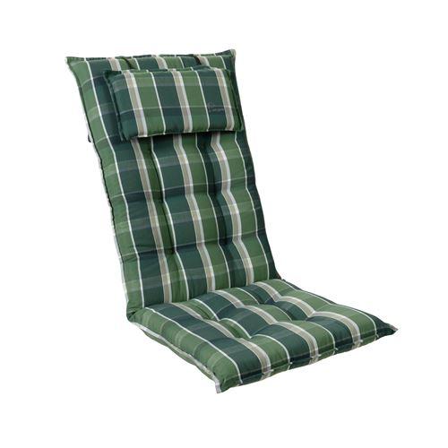 Coussin de chaise de jardin -Blumfeldt Sylt -120 x 50 x9 cm -1 pièce -Vert / Gris
