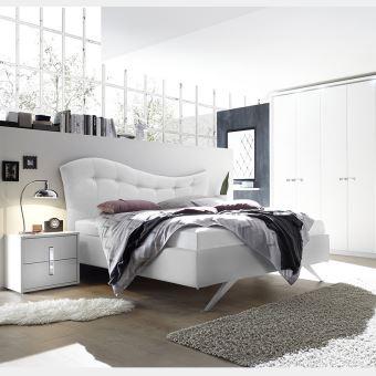 Chambre complete adulte blanc et chrome MAELLE 2 - L 180 x P 200 cm