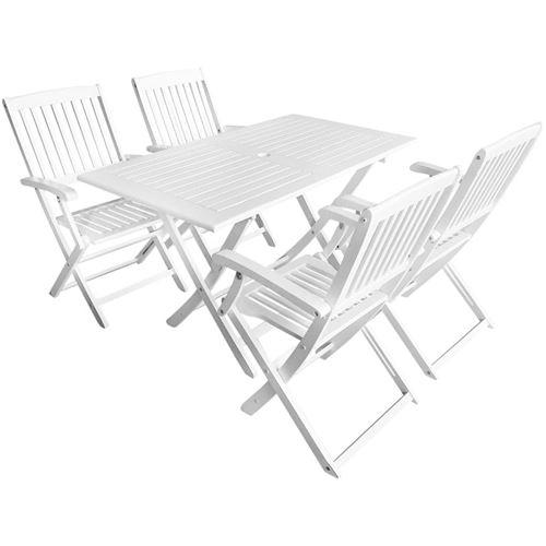 vidaXL Ensemble de salle à manger d'extérieur 5pcs Bois d'acacia Blanc