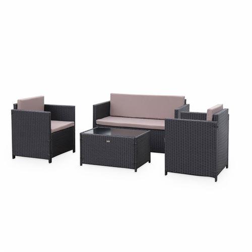 Salon de jardin en résine tressée - Perugia - chocolat Coussins marron - 4 places - 1 canapé 2 fauteuils une table basse