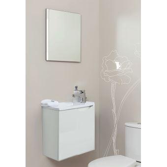 meuble lave mains suspendre miroir vence blanc installations salles de bain achat prix fnac