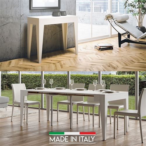 Table Console extensible Isotta Bois - Blanc frêne - 3 Rallonges