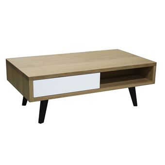 Table Basse 2 Tiroirs Style Scandinave Chene Massif Blanchi Et Laque Pirotais Blanc