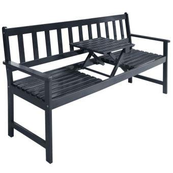 vidaXL Banc de Jardin Mobilier avec Table Escamotable Bois d\'Acacia ...
