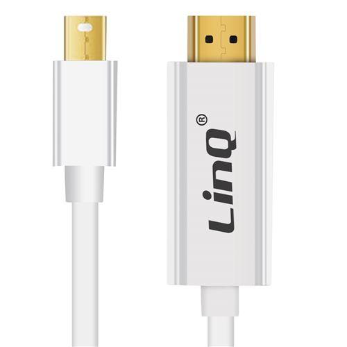 Câble Mini DisplayPort ou Thunderbolt Mâle vers HDMI Mâle 1.8m MDH18 LinQ Blanc