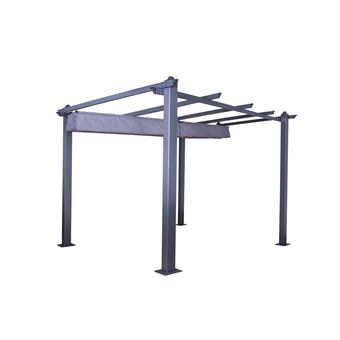Avril Paris - Tonnelle/Pergola aluminium 3x3m toile coulissante rétractable  - Gris Anthracite - Hero
