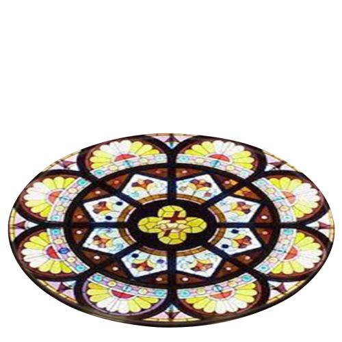Notre-Dame de fenêtre en verre éléments Couverture ronde de bain tapis 120cm BT548